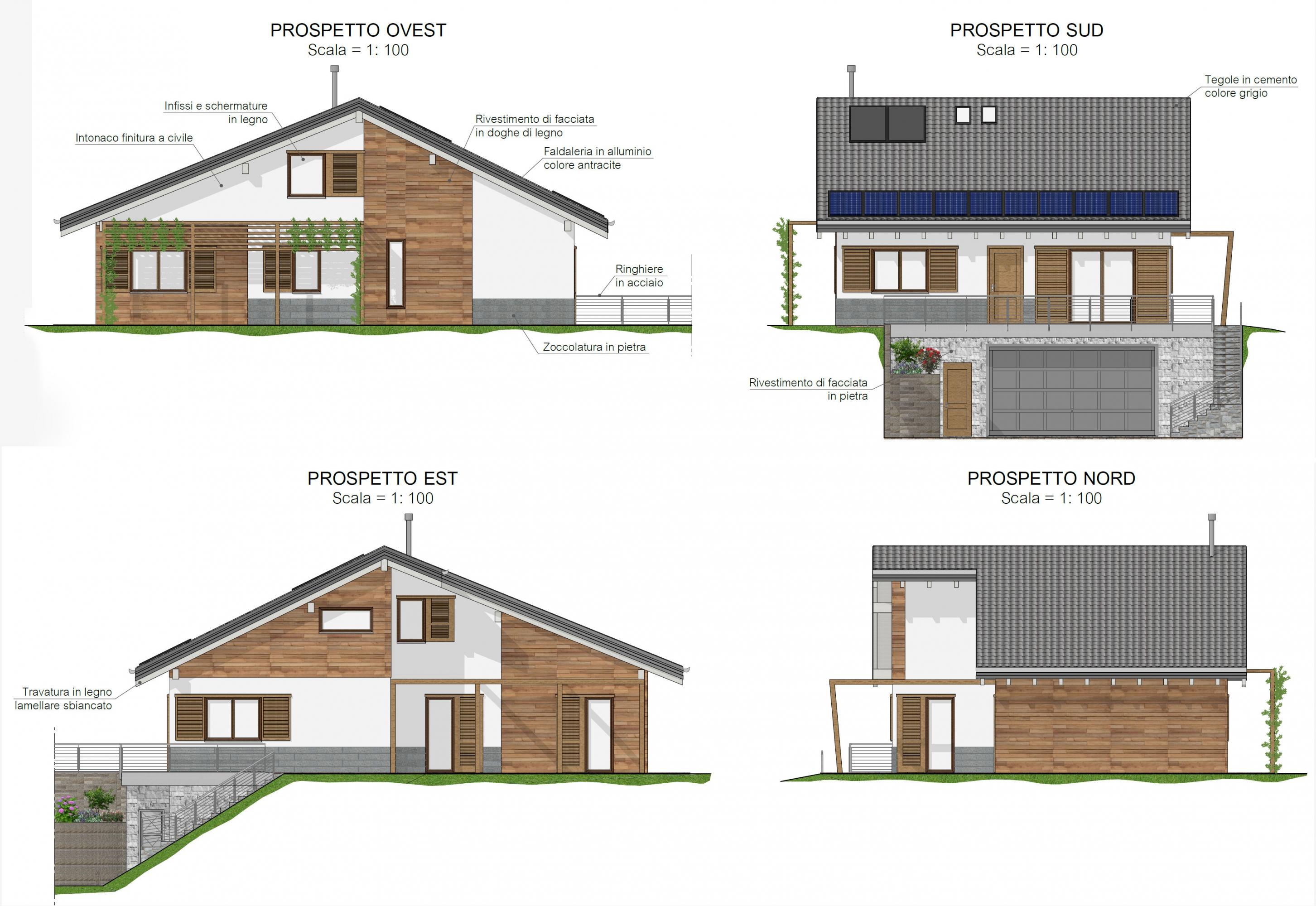 progetto architettonico villa unifamiliare rivalba